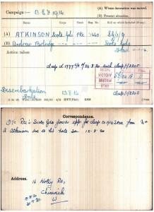 Atkinson AP.medal card