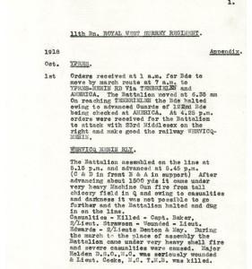 Battalion War Diary 1.10.18