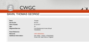 CWGC - Casualty Details-Bavin