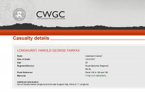 CWGC - Casualty Details.Longhurst HGF