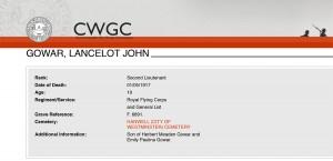 CWGC - Casualty DetailsGOWAR LJ