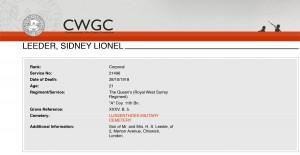 CWGC - Casualty DetailsLeeder
