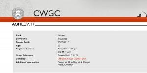 CWGC - Casualty Details - Ashley