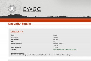 CWGC - Casualty Details - Gregory