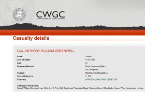 CWGC - Casualty Details - Lax