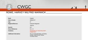 CWGC - Casualty Details - Rowe HWW-1