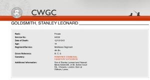 CWGC - Casualty Details Goldsmith