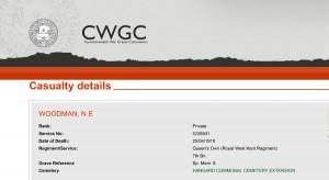 CWGC - Casualty Details WOODMAN