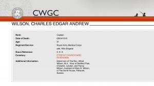 CWGC - Casualty Details Wilson CEA
