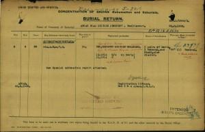 CWGC Burial Return
