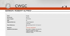 CWGC Casualty Details.Barker R