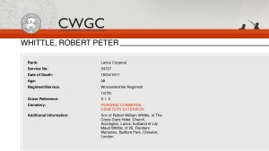 CWGC Casualty Details Whittle RP
