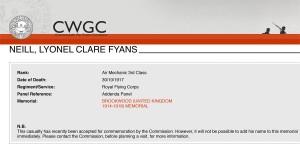 CWGC LCF Neill