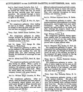 Down.London Gazette 1916