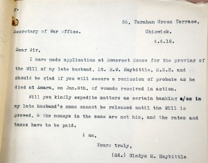 G M Haybittle letter to War Office 4.4.18