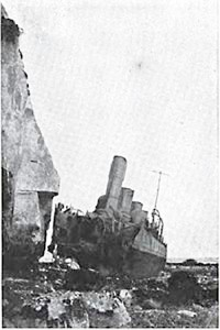 HMSNubian aground after action