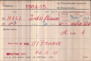 Hall, George F Medal Card