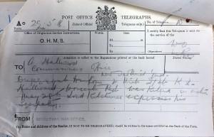 Hallward War Office Telegram