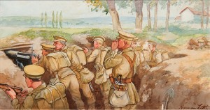 Infantry in the trenches.Norman Little
