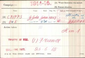 Medal Card. Cripps