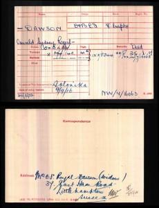 Medal card.Royal-Dawson