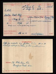 Oliff-Lee Medal card