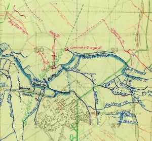 Position of Bayonet trench Guedecourt