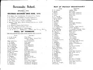 Sevenoaks School Xmas 1914